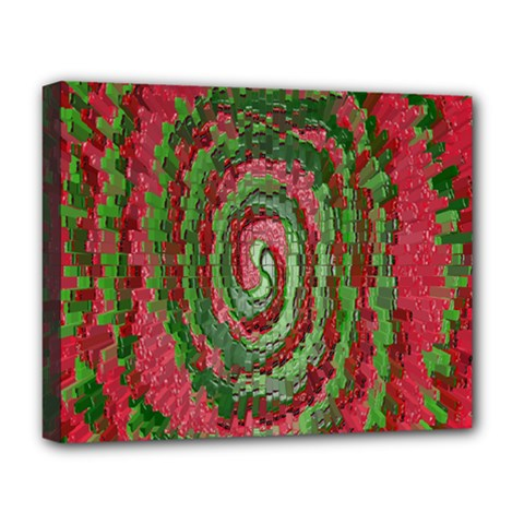 Red Green Swirl Twirl Colorful Deluxe Canvas 20  X 16   by Onesevenart