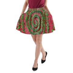 Red Green Swirl Twirl Colorful A Line Pocket Skirt by Onesevenart