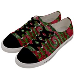 Red Green Swirl Twirl Colorful Men s Low Top Canvas Sneakers by Onesevenart