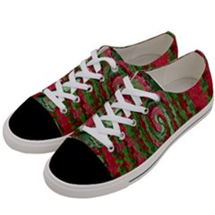Red Green Swirl Twirl Colorful Women s Low Top Canvas Sneakers by Onesevenart