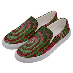 Red Green Swirl Twirl Colorful Men s Canvas Slip Ons by Onesevenart