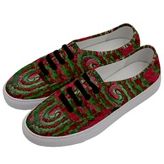 Red Green Swirl Twirl Colorful Men s Classic Low Top Sneakers by Onesevenart