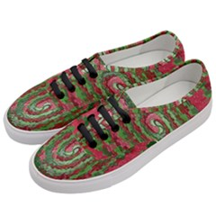 Red Green Swirl Twirl Colorful Women s Classic Low Top Sneakers by Onesevenart