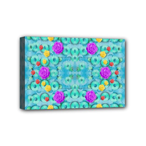 Season For Roses And Polka Dots Mini Canvas 6  X 4  by pepitasart
