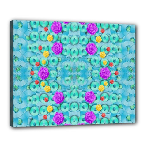 Season For Roses And Polka Dots Canvas 20  X 16  by pepitasart