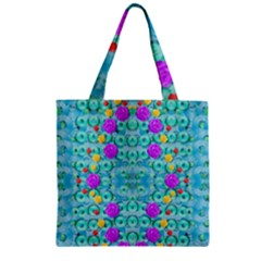 Season For Roses And Polka Dots Zipper Grocery Tote Bag by pepitasart