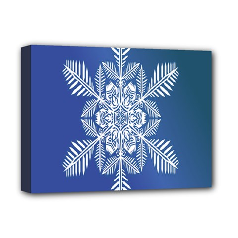 Snow Flake Crystal Snow Winter Ice Deluxe Canvas 16  X 12   by Onesevenart