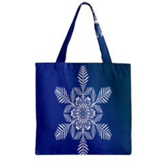 Snow Flake Crystal Snow Winter Ice Zipper Grocery Tote Bag by Onesevenart