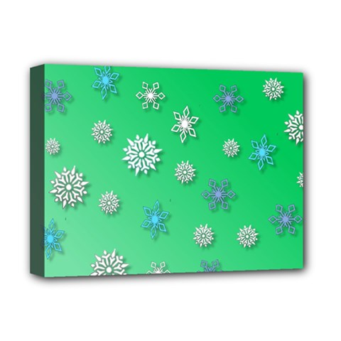 Snowflakes Winter Christmas Overlay Deluxe Canvas 16  X 12   by Onesevenart