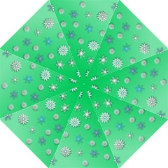 Snowflakes Winter Christmas Overlay Hook Handle Umbrellas (large) by Onesevenart