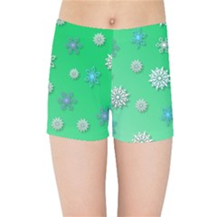 Snowflakes Winter Christmas Overlay Kids Sports Shorts by Onesevenart