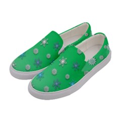 Snowflakes Winter Christmas Overlay Women s Canvas Slip Ons by Onesevenart