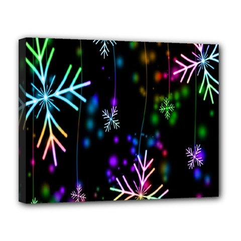 Snowflakes Snow Winter Christmas Canvas 14  X 11  by Onesevenart