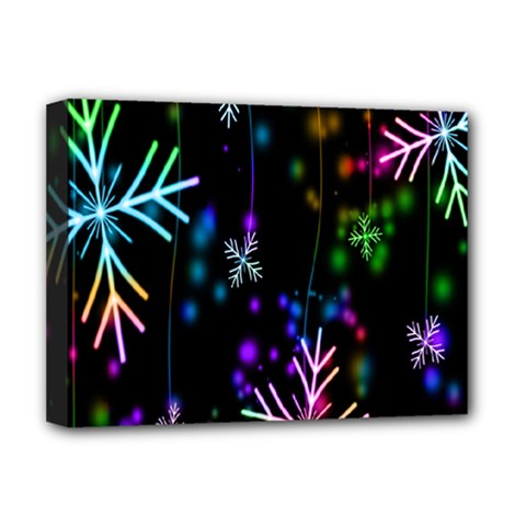 Snowflakes Snow Winter Christmas Deluxe Canvas 16  X 12   by Onesevenart