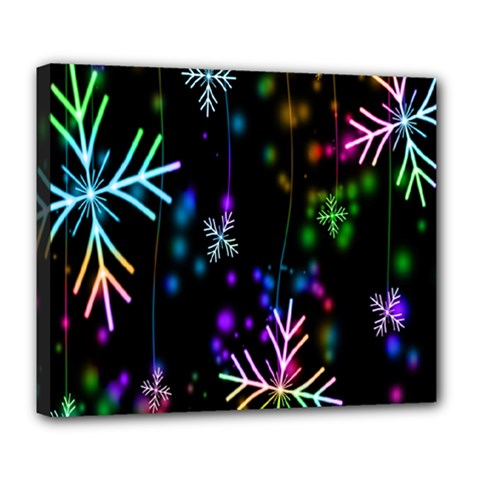 Snowflakes Snow Winter Christmas Deluxe Canvas 24  X 20   by Onesevenart