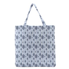 Snowflakes Winter Christmas Card Grocery Tote Bag by Onesevenart