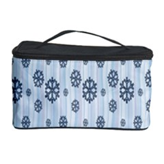 Snowflakes Winter Christmas Card Cosmetic Storage Case by Onesevenart