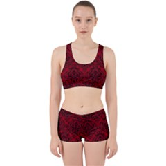 Damask1 Black Marble & Red Leather Work It Out Sports Bra Set