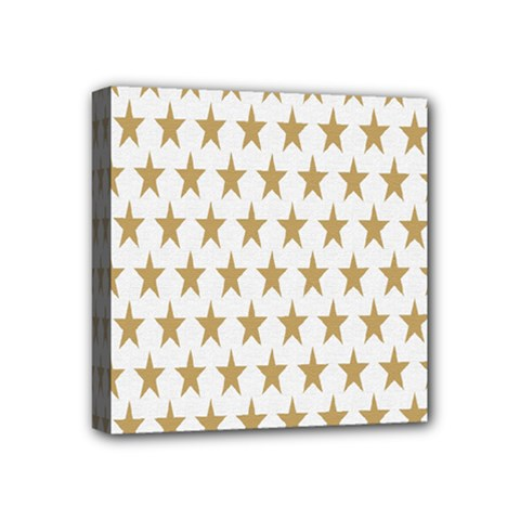 Star Background Gold White Mini Canvas 4  X 4  by Onesevenart