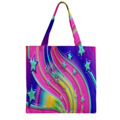 Star Christmas Pattern Texture Zipper Grocery Tote Bag by Onesevenart