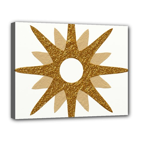 Star Golden Glittering Yellow Rays Canvas 14  X 11  by Onesevenart