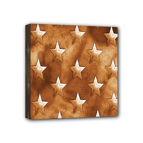 Stars Brown Background Shiny Mini Canvas 4  X 4  by Onesevenart