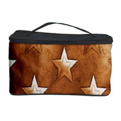 Stars Brown Background Shiny Cosmetic Storage Case by Onesevenart