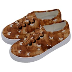 Stars Brown Background Shiny Kids  Classic Low Top Sneakers by Onesevenart