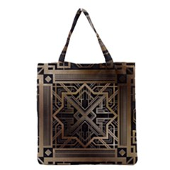 Gold Metallic And Black Art Deco Grocery Tote Bag by 8fugoso