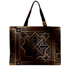 Gold Metallic And Black Art Deco Medium Tote Bag by 8fugoso