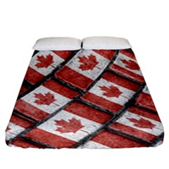 Canadian Flag Motif Pattern Fitted Sheet (california King Size) by dflcprints