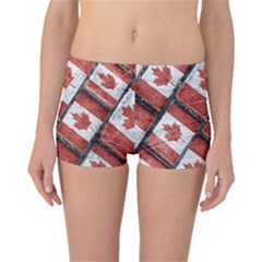 Canadian Flag Motif Pattern Boyleg Bikini Bottoms