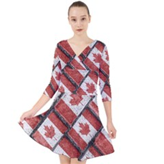 Canadian Flag Motif Pattern Quarter Sleeve Front Wrap Dress
