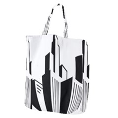 Tower City Town Building Black White Giant Grocery Zipper Tote by Jojostore