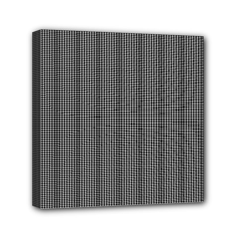 Black Polka Dots Line Plaid Mini Canvas 6  X 6
