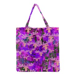 Watercolour Paint Dripping Ink Grocery Tote Bag by Onesevenart
