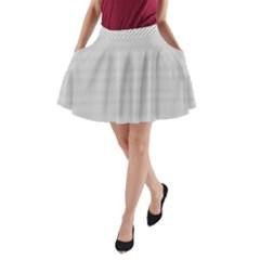 Grey Black Line Polka Dots A Line Pocket Skirt by Jojostore