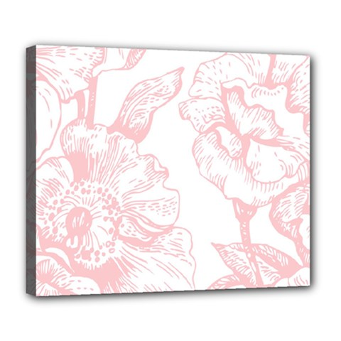 Vintage Pink Floral Deluxe Canvas 24  X 20   by 8fugoso