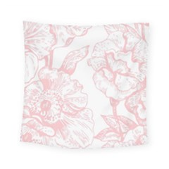 Vintage Pink Floral Square Tapestry (small) by 8fugoso