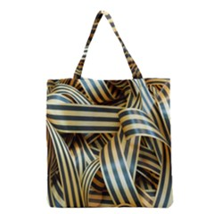 Ribbons Black Yellow Grocery Tote Bag