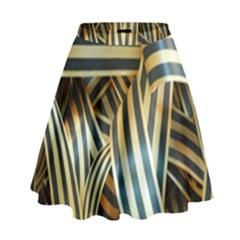 Ribbons Black Yellow High Waist Skirt by Jojostore