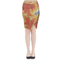 Fractals Midi Wrap Pencil Skirt by 8fugoso