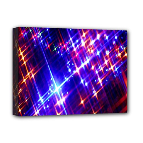 Star Light Space Planet Rainbow Sky Blue Red Purple Deluxe Canvas 16  X 12