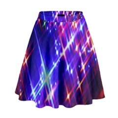 Star Light Space Planet Rainbow Sky Blue Red Purple High Waist Skirt by Jojostore