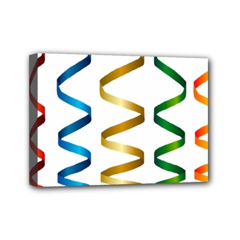Tape Birthday Ribbon Party Yellow Red Blue Green Gold Rainbow Mini Canvas 7  X 5  by Jojostore