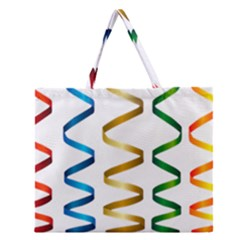 Tape Birthday Ribbon Party Yellow Red Blue Green Gold Rainbow Zipper Large Tote Bag by Jojostore