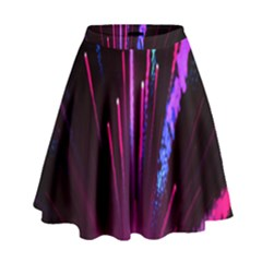Happy New Year City Semmes Fireworks Rainbow Red Blue Purple Sky High Waist Skirt by Jojostore