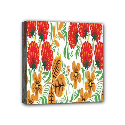 Flower Floral Red Yellow Leaf Green Sexy Summer Mini Canvas 4  X 4  by Mariart
