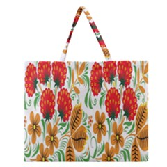 Flower Floral Red Yellow Leaf Green Sexy Summer Zipper Large Tote Bag by Mariart