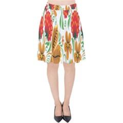 Flower Floral Red Yellow Leaf Green Sexy Summer Velvet High Waist Skirt by Mariart